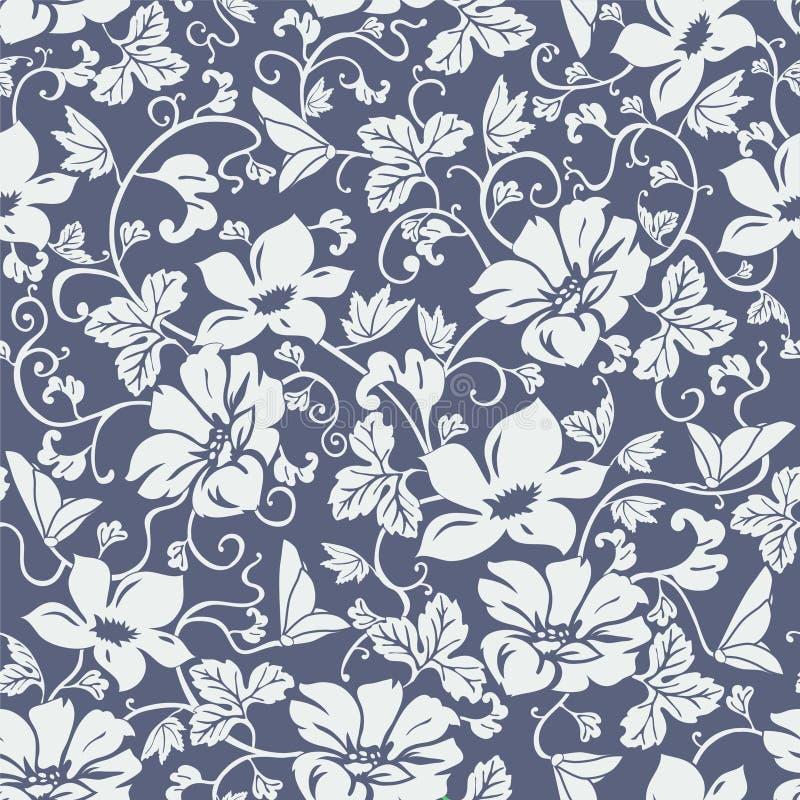 Damast-nahtloser Blumen-Muster-Vektor lizenzfreie abbildung