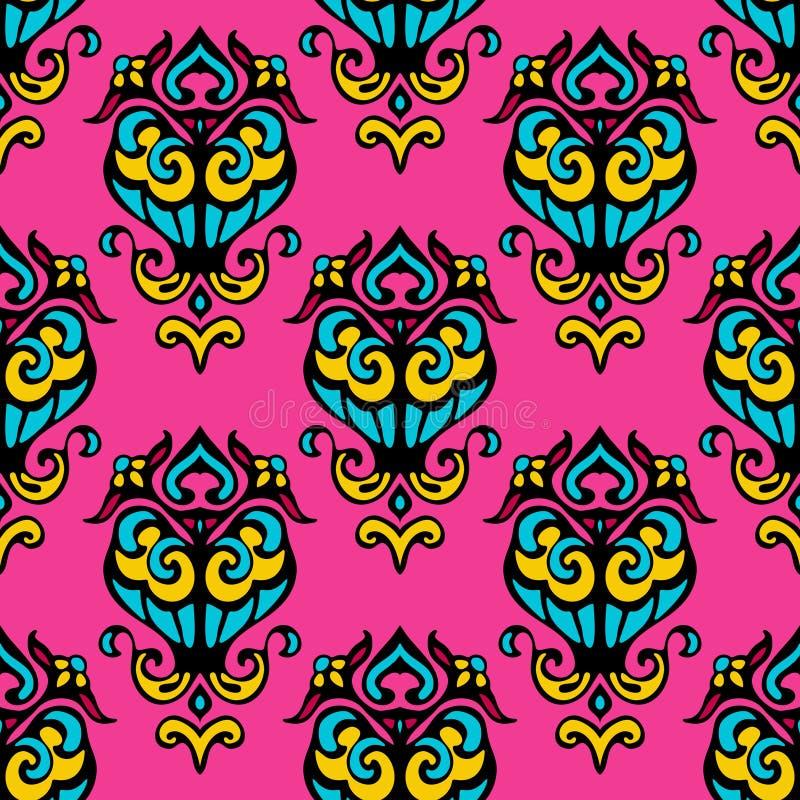 Damast roze abstract naadloos patroon stock illustratie
