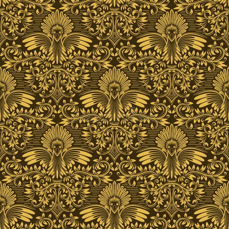 Damast sömlös modell som upprepar bakgrund Guld- olivgrön blom- prydnad i barock stil royaltyfri illustrationer