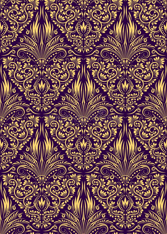 Damast sömlös modell som upprepar bakgrund Guld- purpurfärgad blom- prydnad i barock stil vektor illustrationer