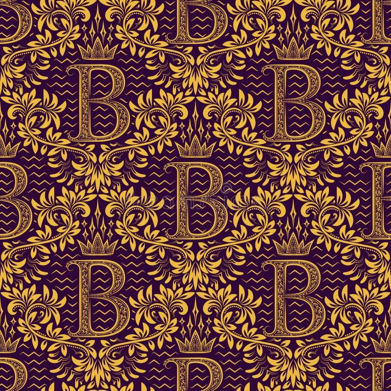 Damast sömlös modell som upprepar bakgrund Guld- purpurfärgad blom- prydnad med b-bokstaven och krona i barock stil stock illustrationer