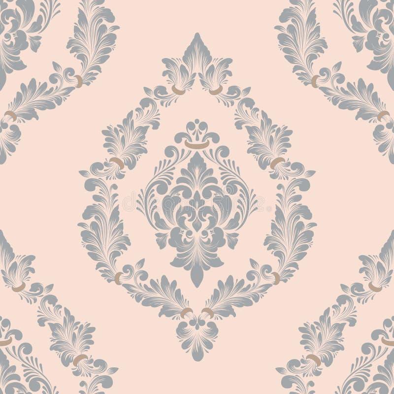 Damast sömlös modellbeståndsdel för vektor Klassisk lyxig gammalmodig damast prydnad, sömlös textur för kunglig victorian vektor illustrationer