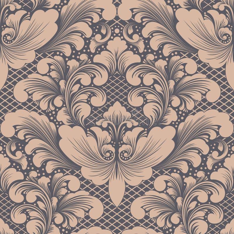 Damast sömlös modellbeståndsdel för vektor Klassisk lyxig gammalmodig damast prydnad, sömlös textur för kunglig victorian royaltyfri illustrationer