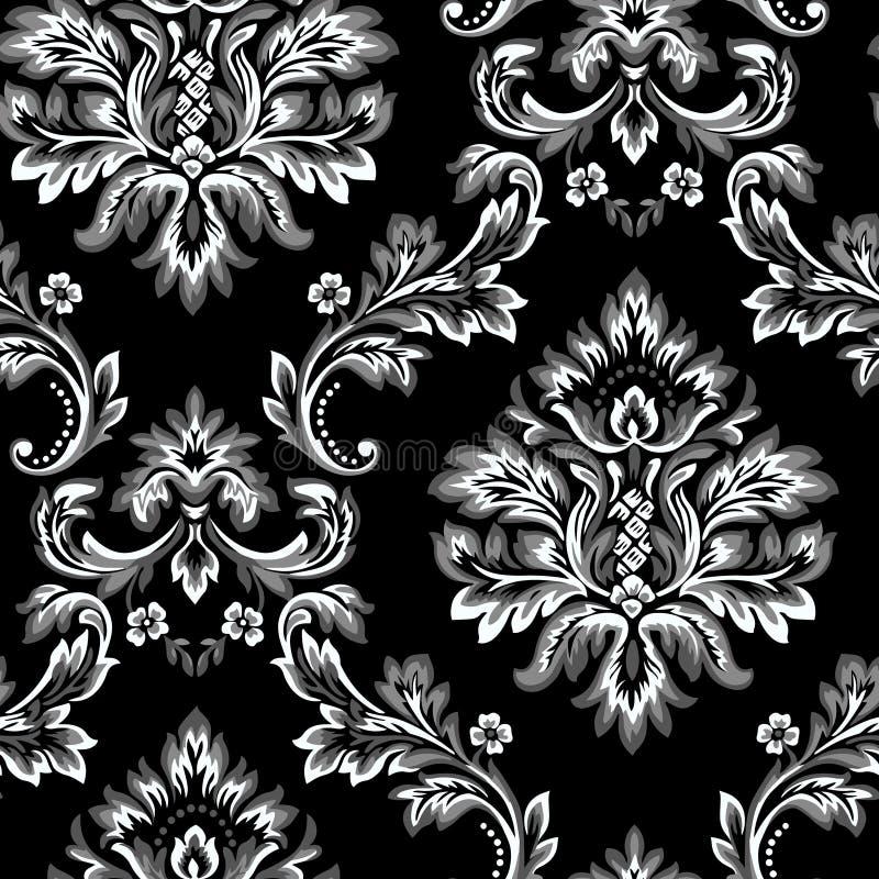Damast s?ml?s modellbest?ndsdel f?r vektor Klassisk lyxig barock prydnad, kunglig viktoriansk sömlös textur för tapeten, textiler stock illustrationer