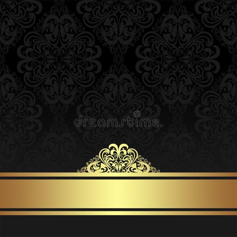 Damast-schwarzer dekorativer Hintergrund mit goldenem Band stock abbildung