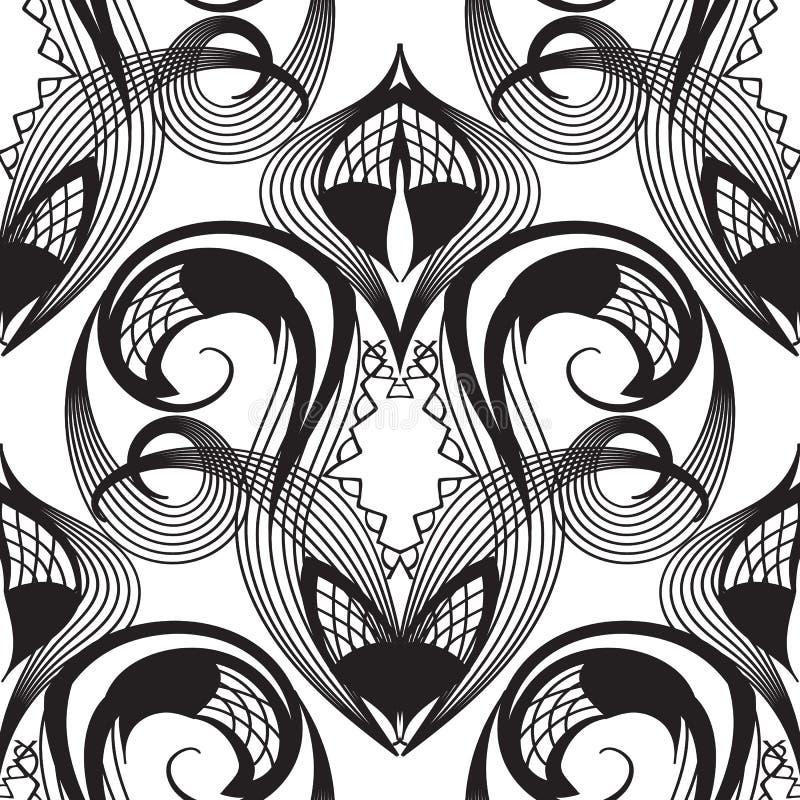 Damast snör åt den sömlösa modellen för den svartvita vektorn monokrom stock illustrationer