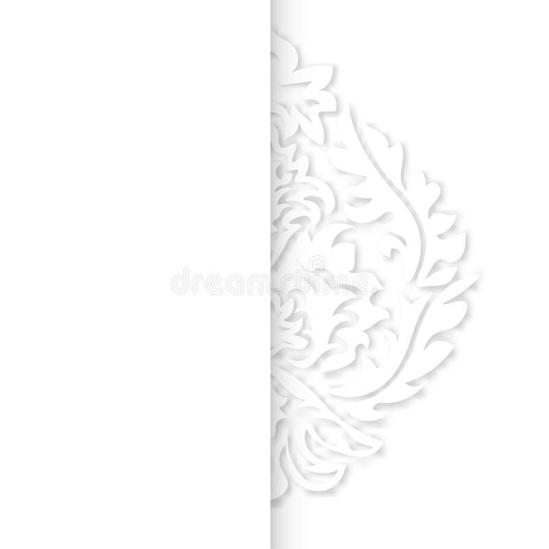 Damast tapetmodell Vektortappningmodell Vit prydnad royaltyfri illustrationer