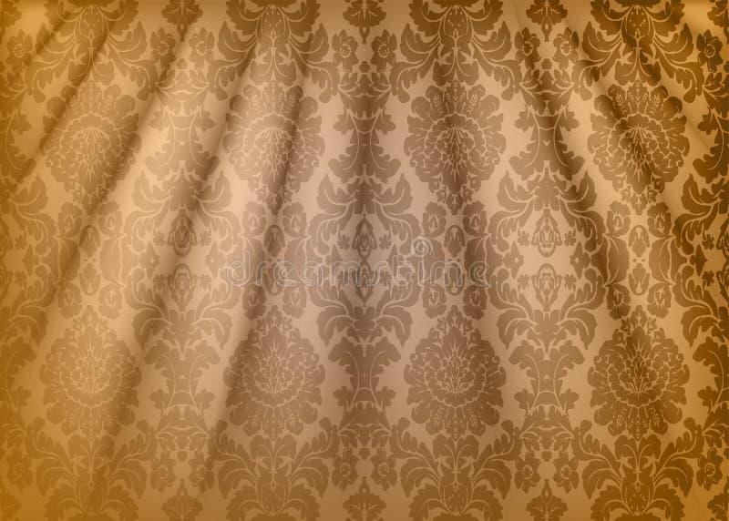 Damast tyg draperar Lyxig tapet i stilen av barock Gul bakgrund för grungetexturvektor med den blom- prydnaden stock illustrationer