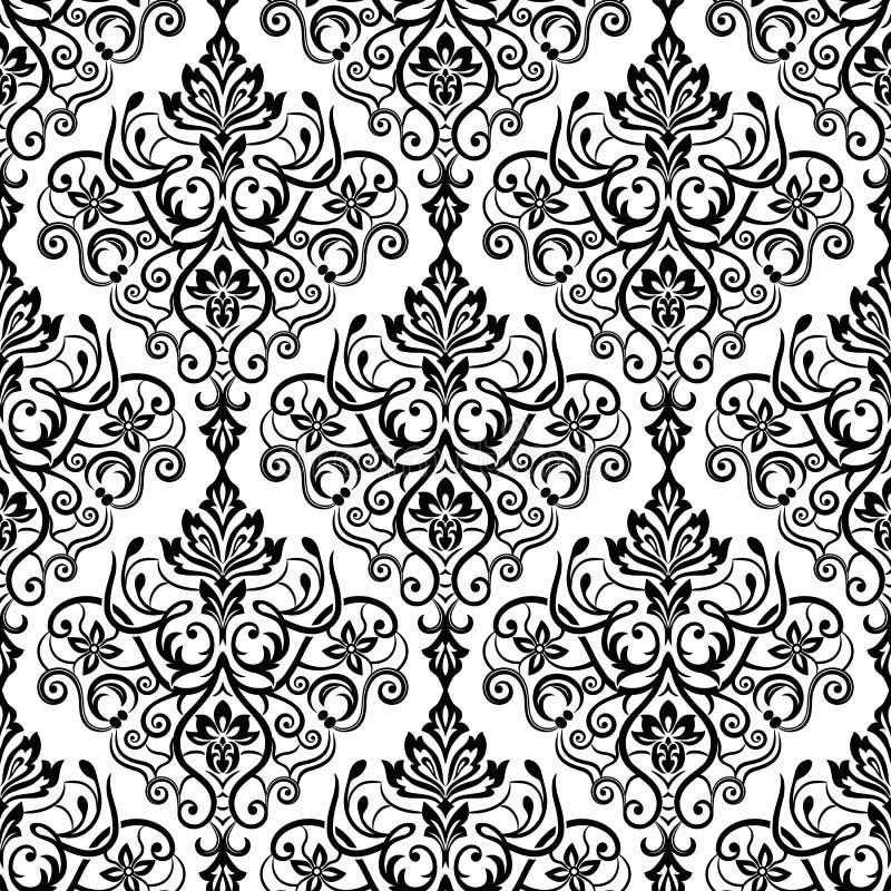 Damast uitstekend Naadloos Patroon als achtergrond Elegante luxetextuur voor behang stock illustratie