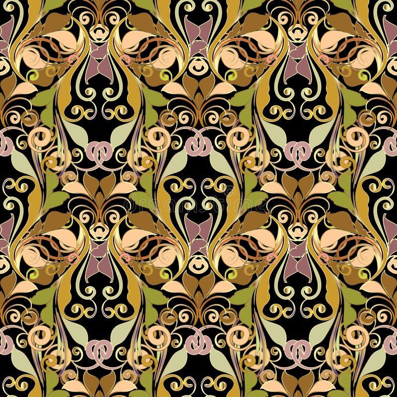 Damast vector naadloos patroon Bloemen abstracte achtergrond wallp stock illustratie