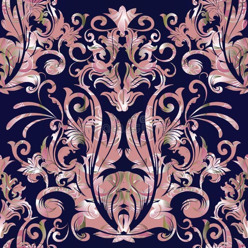 Damast vector naadloos patroon Bloemen barokke donkerblauwe backgro stock illustratie