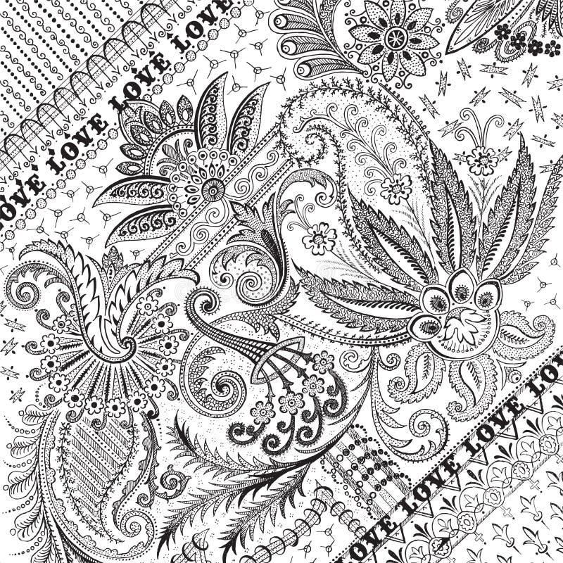 damastast blom- frodasd samkopiering för bakgrund stock illustrationer