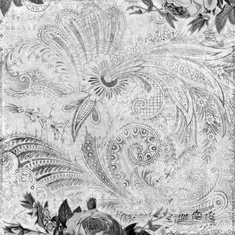 damastast blom- grungy scrapbooktappning för bakgrund royaltyfria bilder