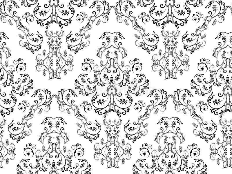 damastast blom- seamless vektor illustrationer