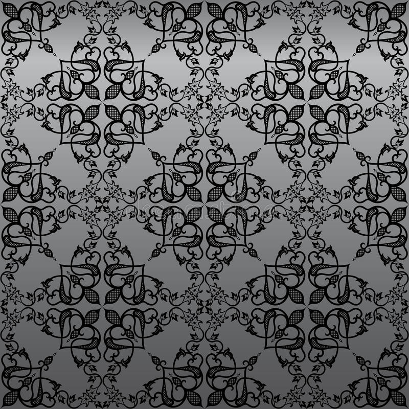 damastast gotisk seamless wallpaper royaltyfri illustrationer