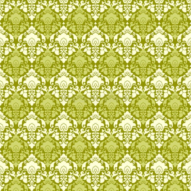 damastast grön paisley tappningwallpaper vektor illustrationer