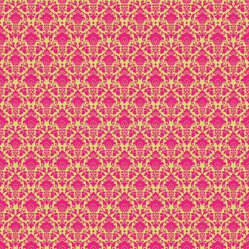damastast grön varm paisley rosa tappningwallpaper royaltyfri illustrationer
