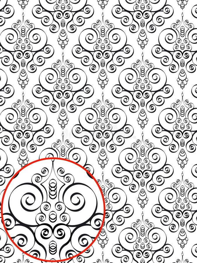 damastast modellstil royaltyfri illustrationer