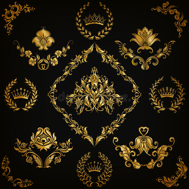 damastast prydnadar ställde in vektorn royaltyfri illustrationer