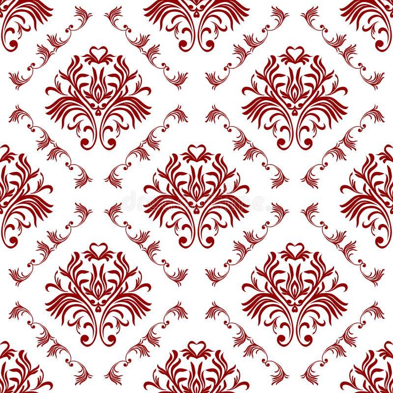 Damastast seamless modellbakgrund för vektor Elegant lyxig textur för tapeter, bakgrunder och sidan fyller stock illustrationer