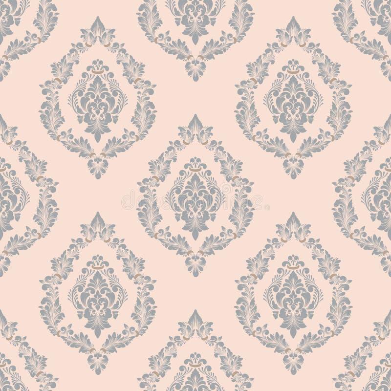 Damastast seamless modellbakgrund för vektor Klassisk lyxig gammalmodig damast prydnad, sömlös kunglig victorian vektor illustrationer