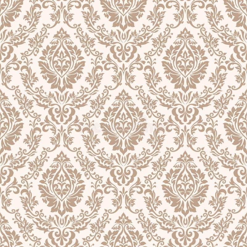 Damastast seamless modellbakgrund för vektor Klassisk lyxig gammalmodig damast prydnad, sömlös kunglig victorian stock illustrationer