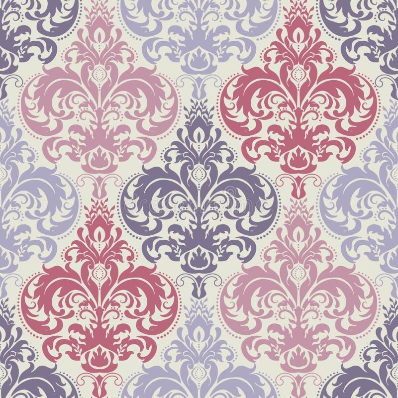 Damastast seamless modellbakgrund för vektor Klassisk lyxig gammalmodig damast prydnad, sömlös textur för kunglig victorian royaltyfri illustrationer