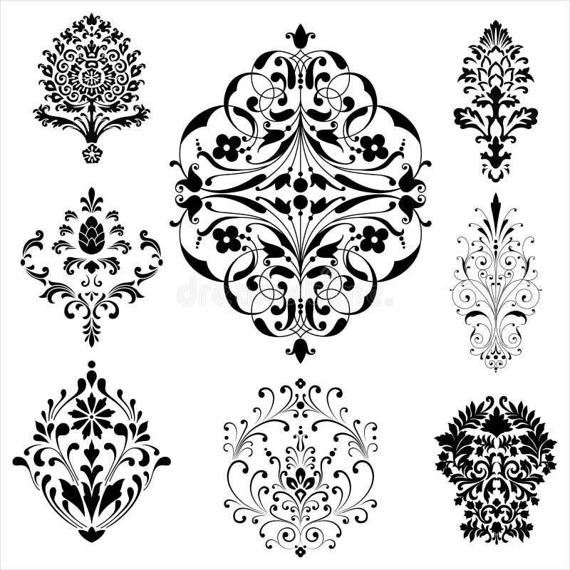 Damastprydnader vektor illustrationer