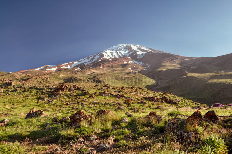 Damavand in Iran. Beautiful landscape around volcano Damavand, highest peak in Iran stock photography