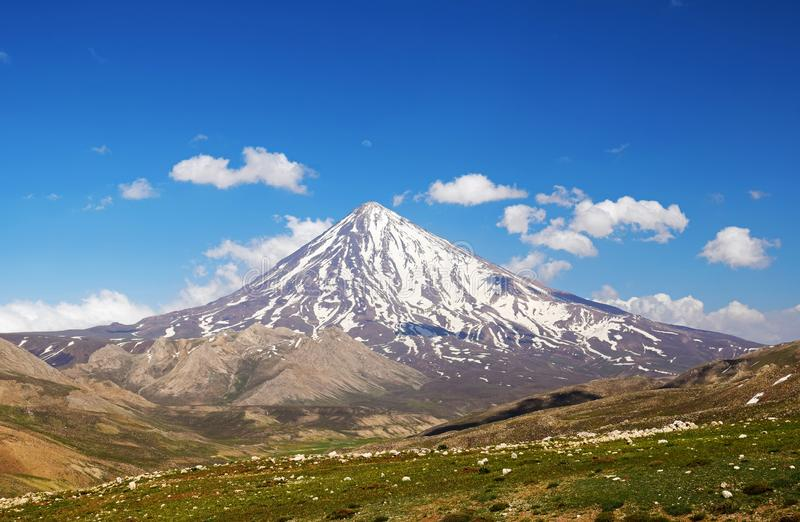 Damavand Volcano, highest mountain in Iran. The landscape of Damavand in Alborz mountain range. Semi active volcano and the symbol of Iran. Top of Persia stock photo