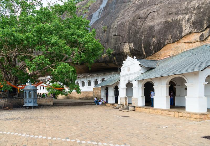 Dambulla golden temple cave complex buildinds is destination for. DAMBULLA, SRI LANKA - NOV 2016: Holy tree and Golden temple cave complex buildinds carved in royalty free stock image