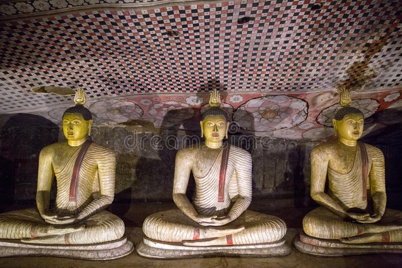 DAMBULLA, SRI LANKA - JAN 17, 2017: close up view of ancient traditional religious monuments in Asia stock photos