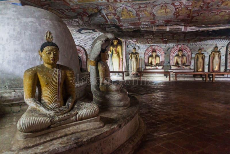 DAMBULLA, SRI LANKA - 20. JULI 2016: Buddha-Statuen in einer Höhle des Dambulla-Höhlentempels, Sri Lan stockfoto