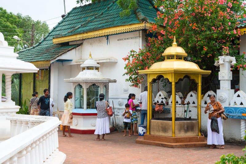 Hindu Devalay Pattini devi temple in Dambulla cave temple in Sri Lanka. DAMBULLA, SRI LANKA - NOV 2016: Hindu Devalay Pattini devi temple near Golden dagoba in royalty free stock photos