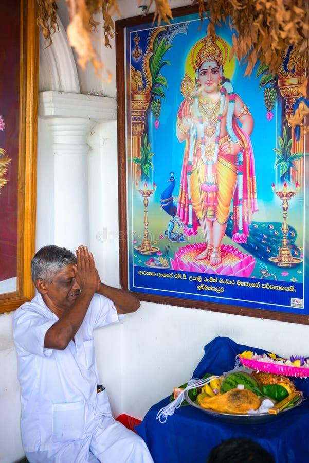Priest in small Vishnu shrine in Dambulla Golden cave temple. DAMBULLA, SRI LANKA - NOV 2016: Priest in small Vishnu shrine in Golden cave temple prays with stock photography