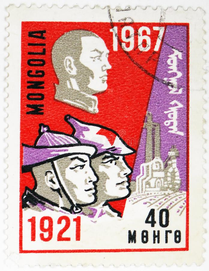 Damdiny Sukhbaatar (1893-1923), Soldiers, 50th Anniversary of the October Revolution serie, circa 1967. MOSCOW, RUSSIA - AUGUST 4, 2019: Postage stamp printed in stock photos