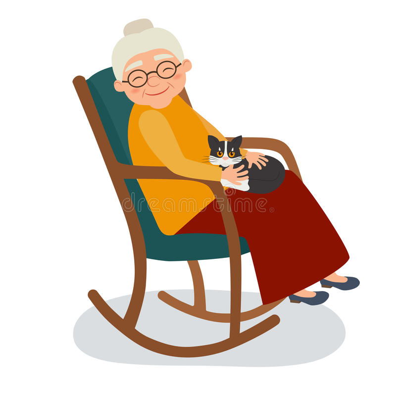Dame âgée avec le chat dans sa chaise de basculage illustration stock