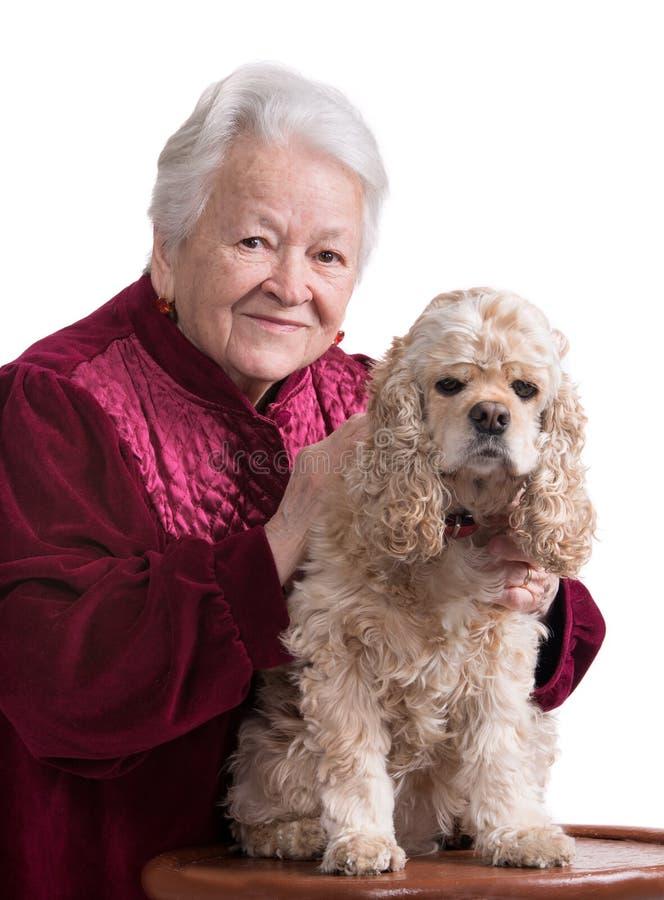 Dame âgée avec le cocker américain photographie stock