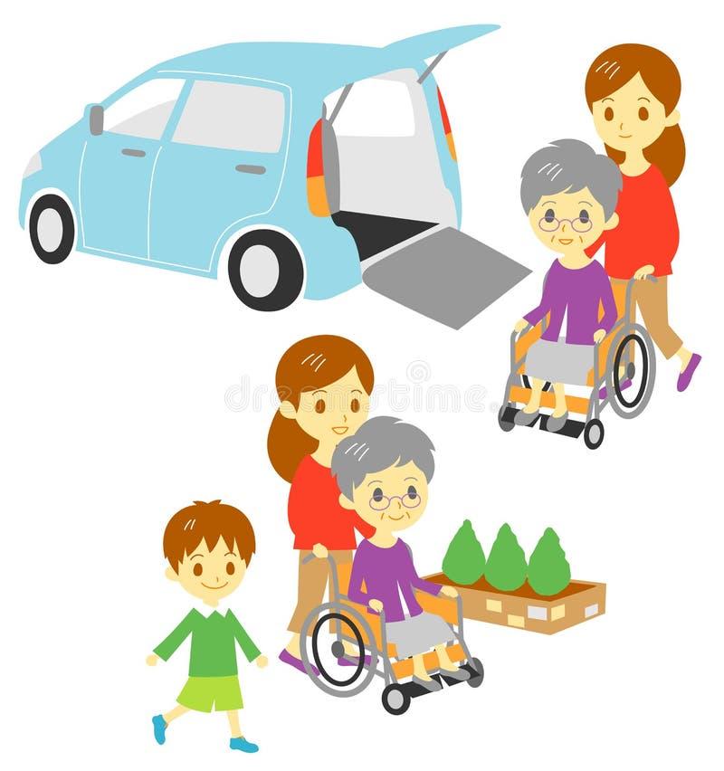Dame âgée dans le fauteuil roulant, véhicule adapté, famille illustration libre de droits