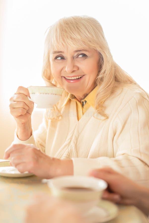 Dame âgée de sourire boit du thé Portrait photographie stock