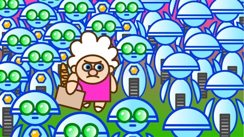 Dame âgée et robots illustration stock
