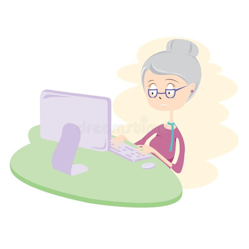 Dame âgée heureuse à l'aide de l'ordinateur. illustration stock