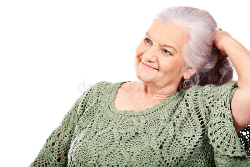 Dame âgée heureuse image libre de droits