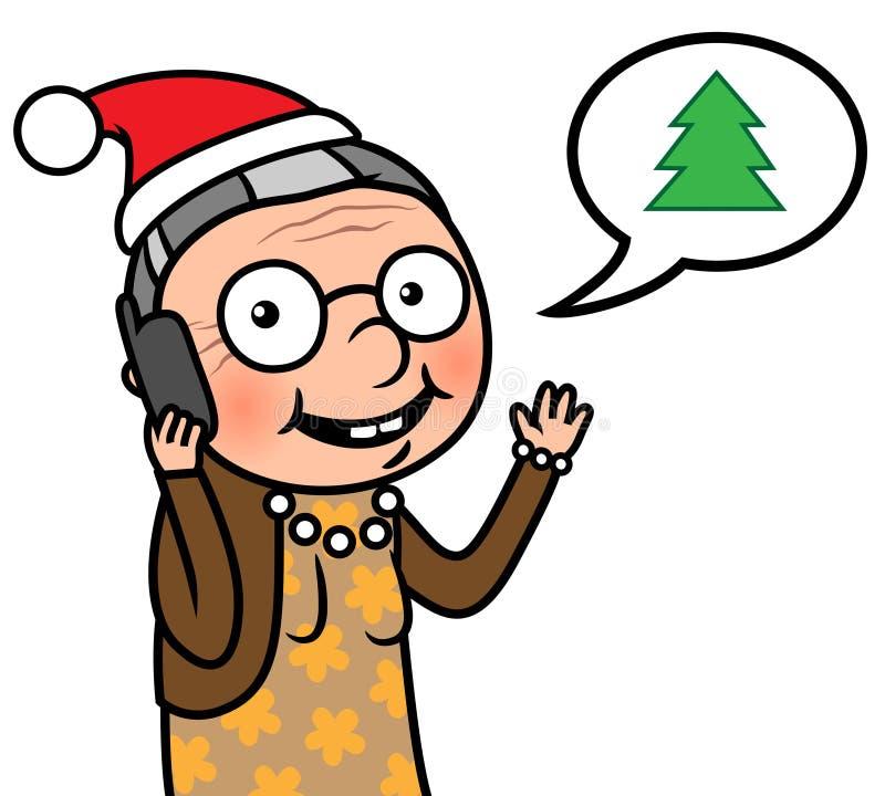 Dame âgée heureuse avec l'appel de Noël de chapeau de Santa illustration de vecteur