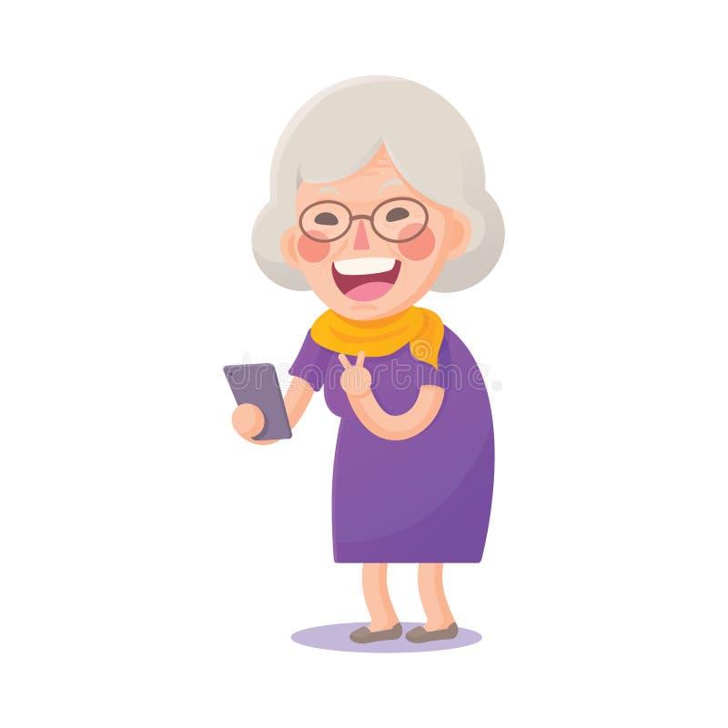 Dame âgée heureuse prennent un Selfie illustration de vecteur