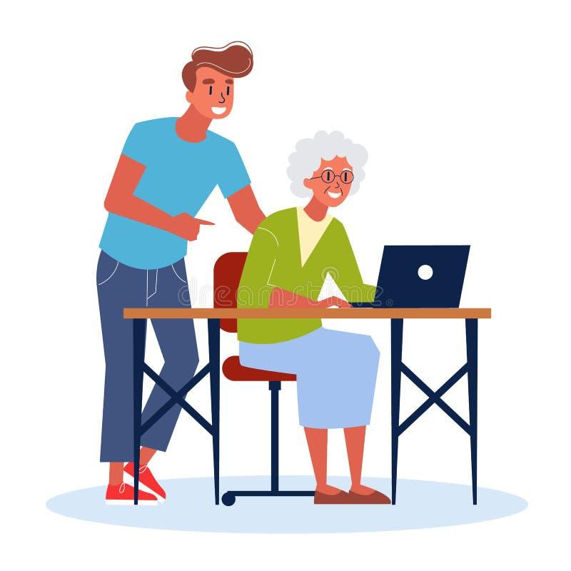 Dame âgée s'asseyant au bureau et apprenant à utiliser l'ordinateur illustration stock