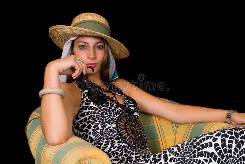 Dame attirante, rétro type photographie stock