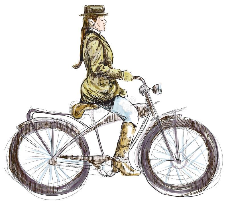 Dame auf Fahrrad lizenzfreie abbildung