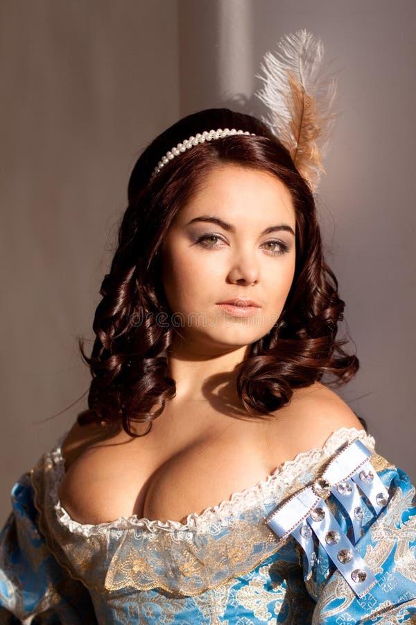 Dame in blauw royalty-vrije stock afbeeldingen