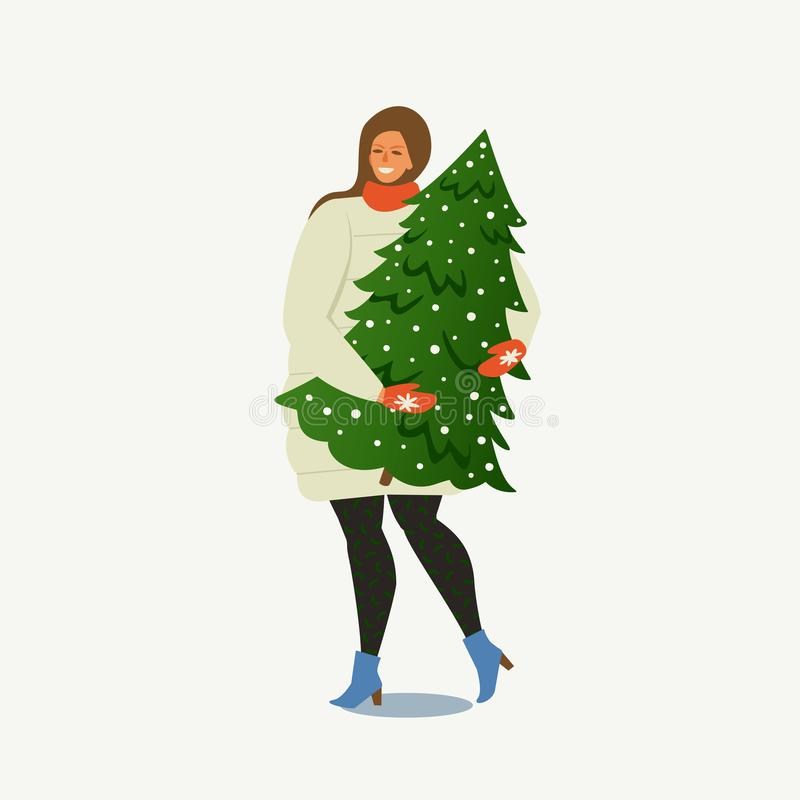 Dame Carrying een Kerstboom Vrolijke Kerstmis en Gelukkig Nieuwjaar De mensen treffen voor het nieuwe jaar voorbereidingen royalty-vrije illustratie